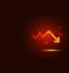 Futuristic red signal trend drop down arrow chart vector