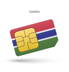 Gambia mobile phone sim card with flag vector