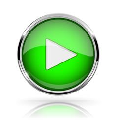 Green round media button play button shiny icon vector