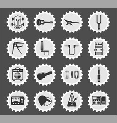Guitar and accessories icon set vector