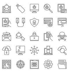 hacker and computer virus outline icons set vector image