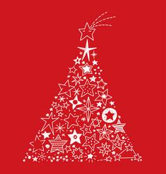 hand drawn stars christmas tree vector image