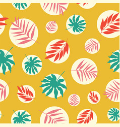 hand drawn tropical leaves in white bubbles vector image