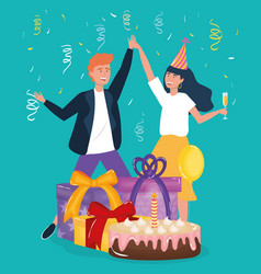 Happy birthday couple dancing with gifts and cake vector