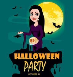 Happy halloween party invitation beautiful lady vector