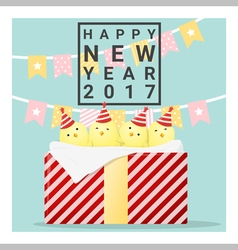 Happy new year 2017 card with chicken 1 vector
