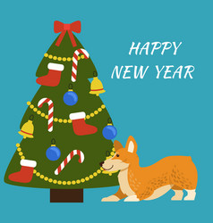 Happy new year placard dog vector