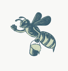 Honey bee waving with pail of honey scratchboard vector
