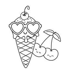 ice cream cherries and sunglasses black and white vector image