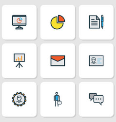 Job colorful outline icons set collection of vector