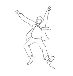 jumping businessman continuous line art vector image