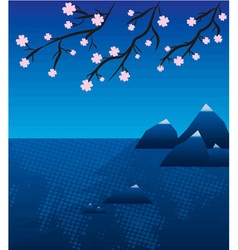 Lake landscape with sakura in japan vector image