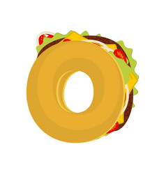 Letter o tacos mexican fast food font taco vector