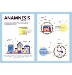 line art anamnesis poster banner template vector image