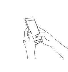 Line drawing hands texting in a smartphone vector