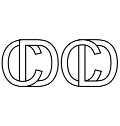 logo sign dc and cd icon sign two interlaced vector image