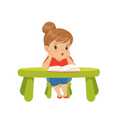 Lovely little girl character sitting at the table vector