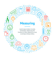 measuring thin line banner card circle vector image