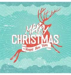 Merry Christmas Vintage Deer silhouette and vector image
