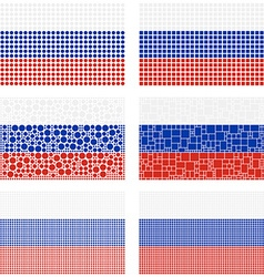Mosaic Russia flag set vector