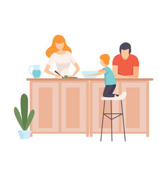 Mother father and son cooking food in the kitchen vector