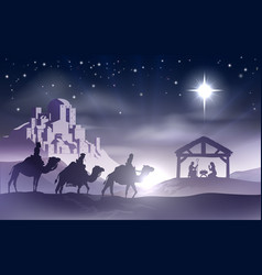 Nativity christmas scene vector