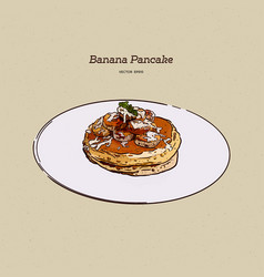 Pancakes with bananawalnut and caramel hand draw vector