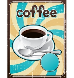 Poster with a coffee cup in retro style vector