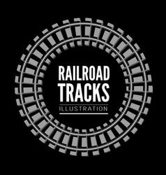 Railroad tracks llustration on black vector
