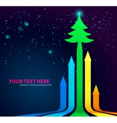 Rainbow Arrows Background with Christmas Tree on vector
