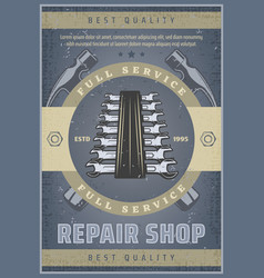 Repair shop vintage banner for car service design vector