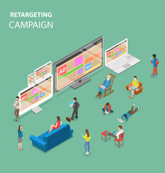 retargeting campaign flat isometric concept vector image