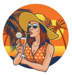 retro design of summer girl vector image