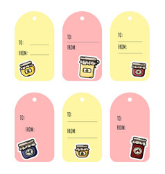 Set jam jars gift tags collection flat vector