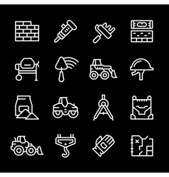 Set line icons of constructing industry vector image