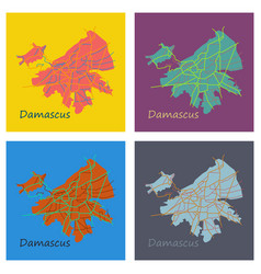 Set of flat map design - damascus city vector