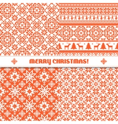 Set of knited Christmas patterns vector