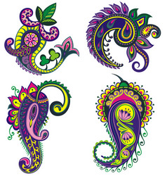 set of paisley elements with flowers vector image