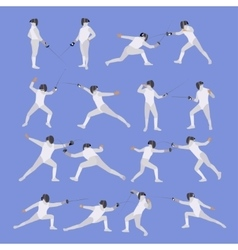 set of sport fencing athletes isolated vector image