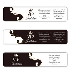 Set of three horizontal elegant vip banners with vector