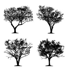 silhouette tree set isolated icon forest vector image