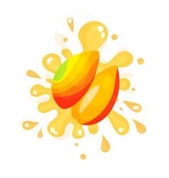 Sliced ripe mango juice splashing colorful fresh vector