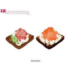 Smorrebrod with salmon and tuna the national dish vector