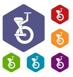 Solo wheel icons set hexagon vector