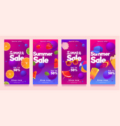 summer sale social media templates or posters set vector image