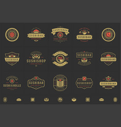 Sushi restaurant logos and badges set japanese vector
