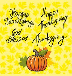 Thanksgiving and inscription symbols vector