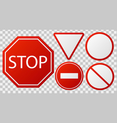 traffic stop signs red police restricted road vector image