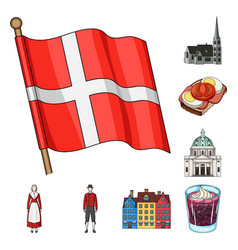 Traveling in denmark cartoon icons in set vector