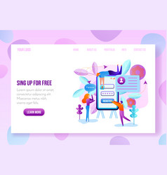 User onboarding web page flat template vector